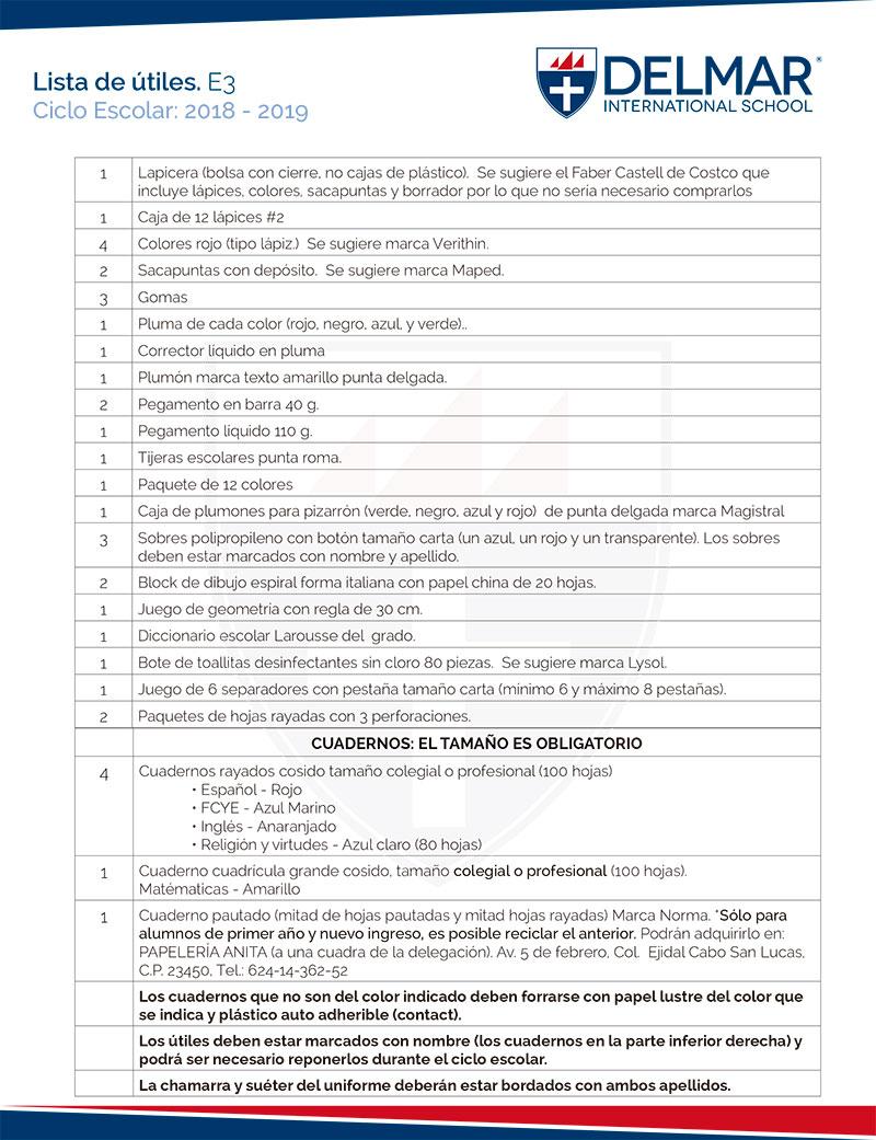 utiles-esp-e3 Lista de útiles