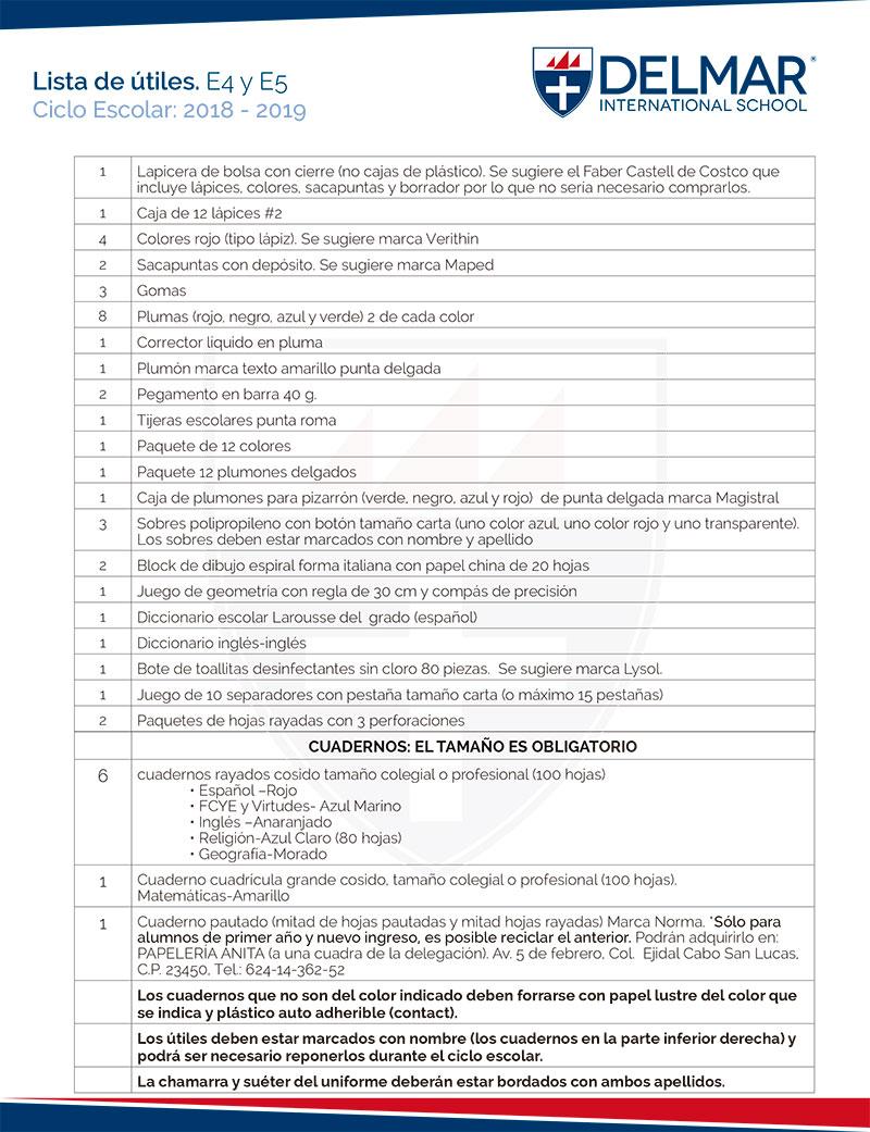 utiles-esp-e4-e5 Lista de útiles